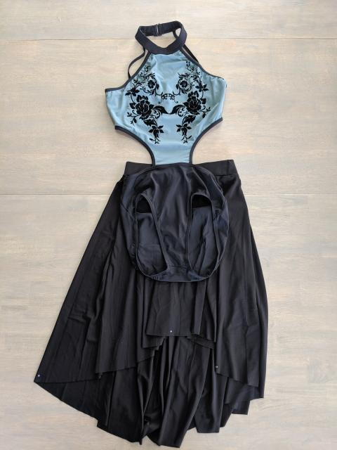 Black and blue 2 piece