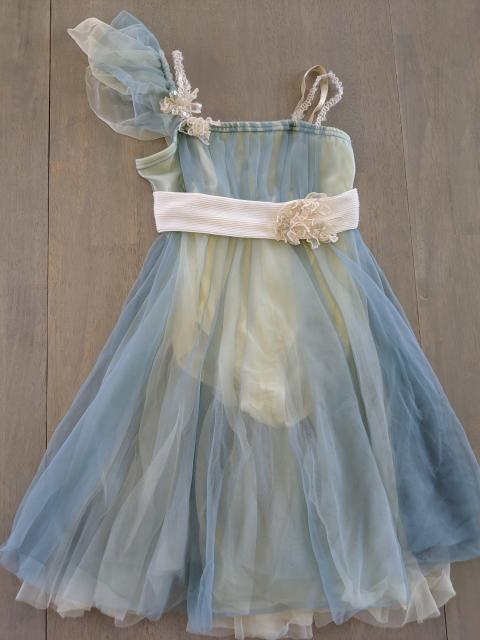 Blue and cream tulle
